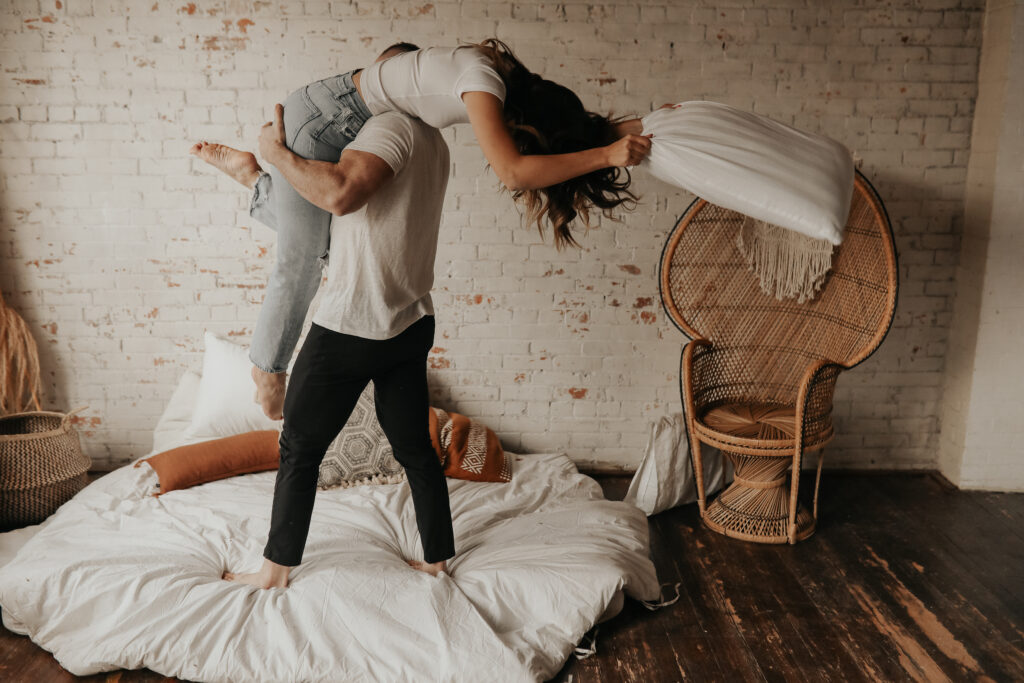 Pillow fight for photos